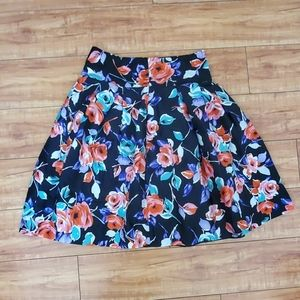 Express Design Studio Floral Silk Skirt